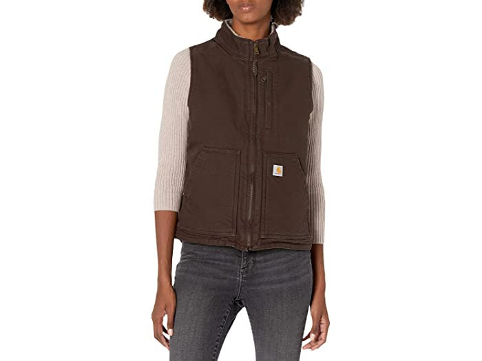 Carhartt OV277 Sherpa Lined Mock Neck Vest in Dark Brown