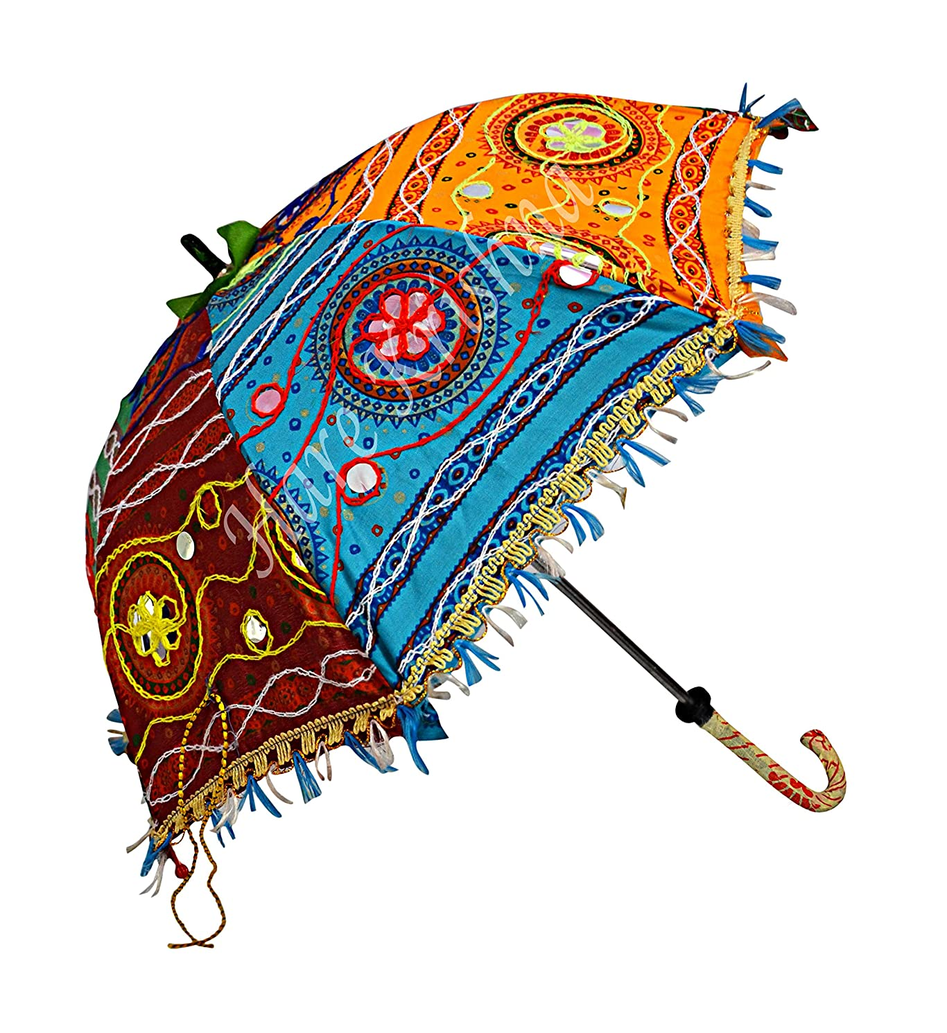 Rajasthani Hand Embroidery Design Cotton Umbrella Women Fashion Kids Gifts Parasol (Multi Color) 24 x 28 Inches