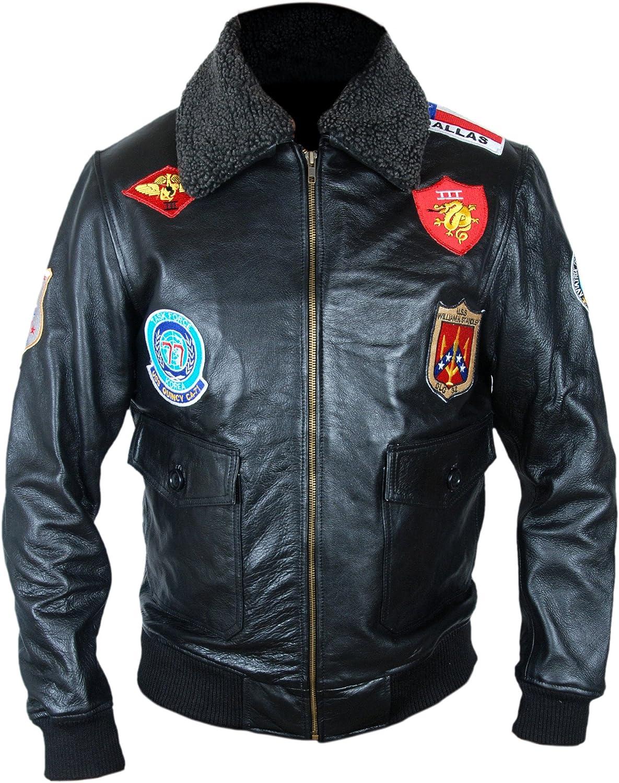 F&H Men's 7 Patch Top Maverick Cruise Genuine Leather Bomber Jacket