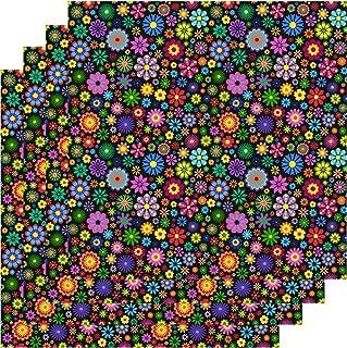 Floral Print Vinyl, Flower Pattern Vinyl, Adhesive Pattern Sheets, 4-12