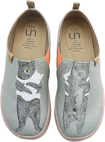 UIN Calin de l'ours Chaussures Bateaux de Toiles Vert grisatre pour Homme