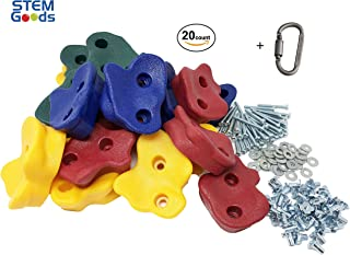 "20 Premium Large Textured Kids Rock Climbing Wall Holds with Quality 2"" Mounting Hardware + Carabiner Clip + Installation Guide w Video!"