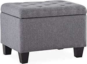 BELLEZE Modern Tufted Storage Ottoman Lift Top Rectangle Footstool Linen, Gray