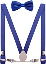 YJDS Men's Boy's Leather Suspenders and Bow Tie Set Elastic for Wedding