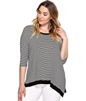 Karen Kane Plus - Plus Size 3/4 Sleeve Asymmetric Hem Top