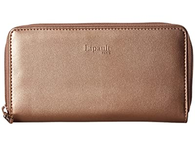 Lipault Paris Miss Plume Zip Around Wallet (Pink Gold) Wallet Handbags
