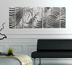 Statements2000 Abstract Modern Large Metal Wall Art Indoor/Outdoor 3D Painting Hanging Sculpture by Jon Allen, Silver, 172...