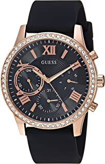 GUESS Women's Rose Gold-Tone and Black Multifunction Watch NS Black/Rose Gold