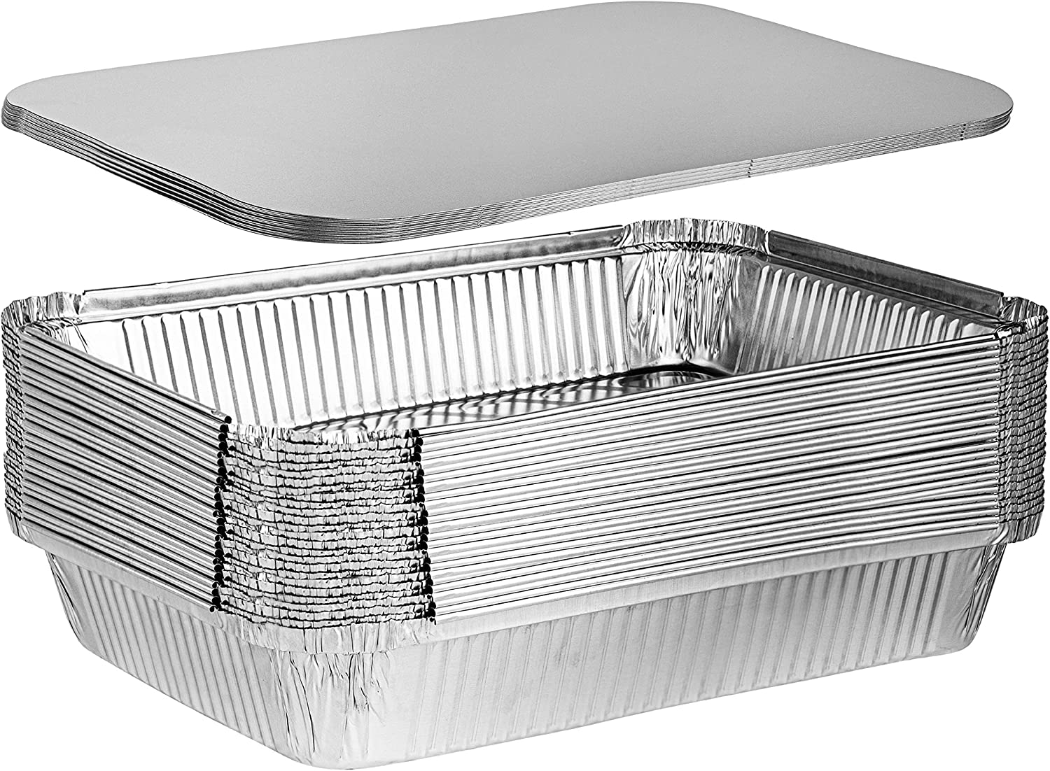 Plasticpro Disposable 4 LB Aluminum Takeout Tin Foil Oblong Baking Pans 12'' X 8'' X 2'' Inch With Cardboard Lids Bakeware - Cookware Perfect for Cakes, Bread, Lasagna, or Lunchbox, Pack of 10