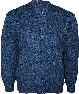 malaika fashions Mens Classic Buttons Vintage Plain Knitted Grandad Cardigan Jumper UK S- 3XL