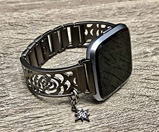 Brushed Gunmetal Bracelet For Fitbit Versa Smartwatch Handmade Flowers Design Jewelry Fitbit Versa Watch Band Gunmetal CZ North Star Charm Adjustable Size Fitbit Watch Bangle