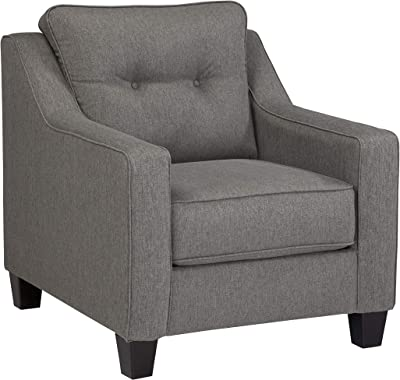 Benjara Contemporary Fabric Upholstered Chair with Button Tufted Back, Gray