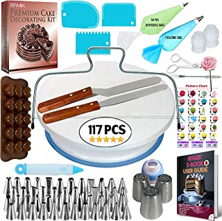 RFAQK Cake Decorating Supplies Kit for Beginners-1 Turntable stand-48 Numbered icing tips with pattern chart & E.Book-1 Cake Leveler-Straight & Angled Spatula-3 Russian Piping nozzles-Baking tools