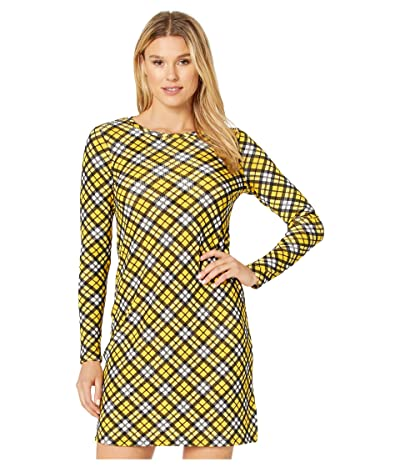 MICHAEL Michael Kors Bias Plaid Long Sleeve Dress (Bright Dandelion) Women