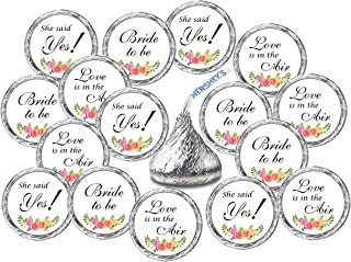 324 Floral Roses Bridal Shower, Bachelorette Party, Bride to Be Hershey Kisses Stickers, Chocolate Drops Labels Stickers for Engagement Party, Hershey's Kisses Party Favors