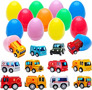 Fun Party Favors Surprise Egg Toys with 12 Metal Trucks and Cars | Pull-Back Vehicles Assortment Surprise in 3.2