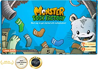 LogicRoots Multiplication Games for Kids, Stem Toys for 7 Year Olds and up, Math Games for Second Grade and up - 270 Monster Tiles and 53 Order Cards in Monster Sock Factory