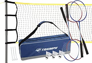 Triumph Premium Badminton Set - Including Net, 4 Steel Rackets and 3 Shuttlecocks