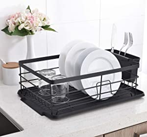 POPILION 3piece Kitchen Sink Side Dish Drying Rack,Dish Rack with Black Drainboard
