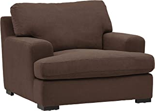 """Amazon Brand – Stone & Beam Lauren Down-Filled Oversized Living Room Accent Armchair with Hardwood Frame, 46""""W, Chocolate"""