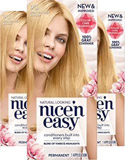 Clairol Nice'n Easy Permanent Hair Color, 9G Light Golden Blonde, 3 Count