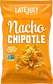 LATE JULY Snacks Clásico Nacho Chipotle Tortilla Chips, 5.5 Ounce, Pack of 12