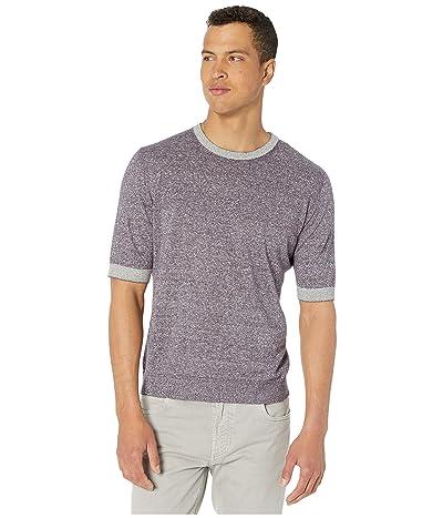 eleventy Short Sleeve Crew Neck Knit T-Shirt w/ Striped Collar/Sleeve (Violet) Men