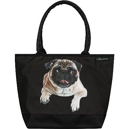 VON LILIENFELD Handtasche Damen Motiv Mops Hund Shopper Maße L42 x H30 x T15 cm Strandtasche Henkeltasche Büro