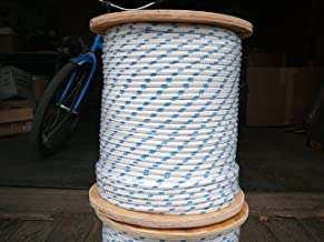 "Sailboat Rigging Rope 5/16"" x 100` White/Blue Double Braided Polyester Dacron Sheet Halyard Line"