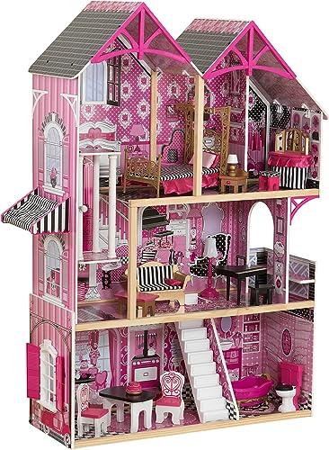 KidKraft 65944 Bella Puppenhaus aus Holz mit Zubeh fü30cm Größe Puppen mit 16 Accessoires und 3 Spielebenen