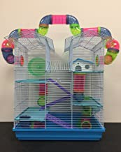 5 Floor Large Twin Tower Syrian Hamster Rodent Gerbil Mouse Mice Rat Cage with Crossing Tube Tunnel