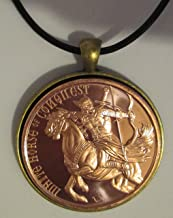 White Horse of Conquest Copper Round 24 inches Leather Chord Necklace