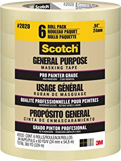 Scotch Contractor Grade Masking Tape, 0.94 inch x 60.1 yard, 2020, 6 Rolls - 2020-24EVP