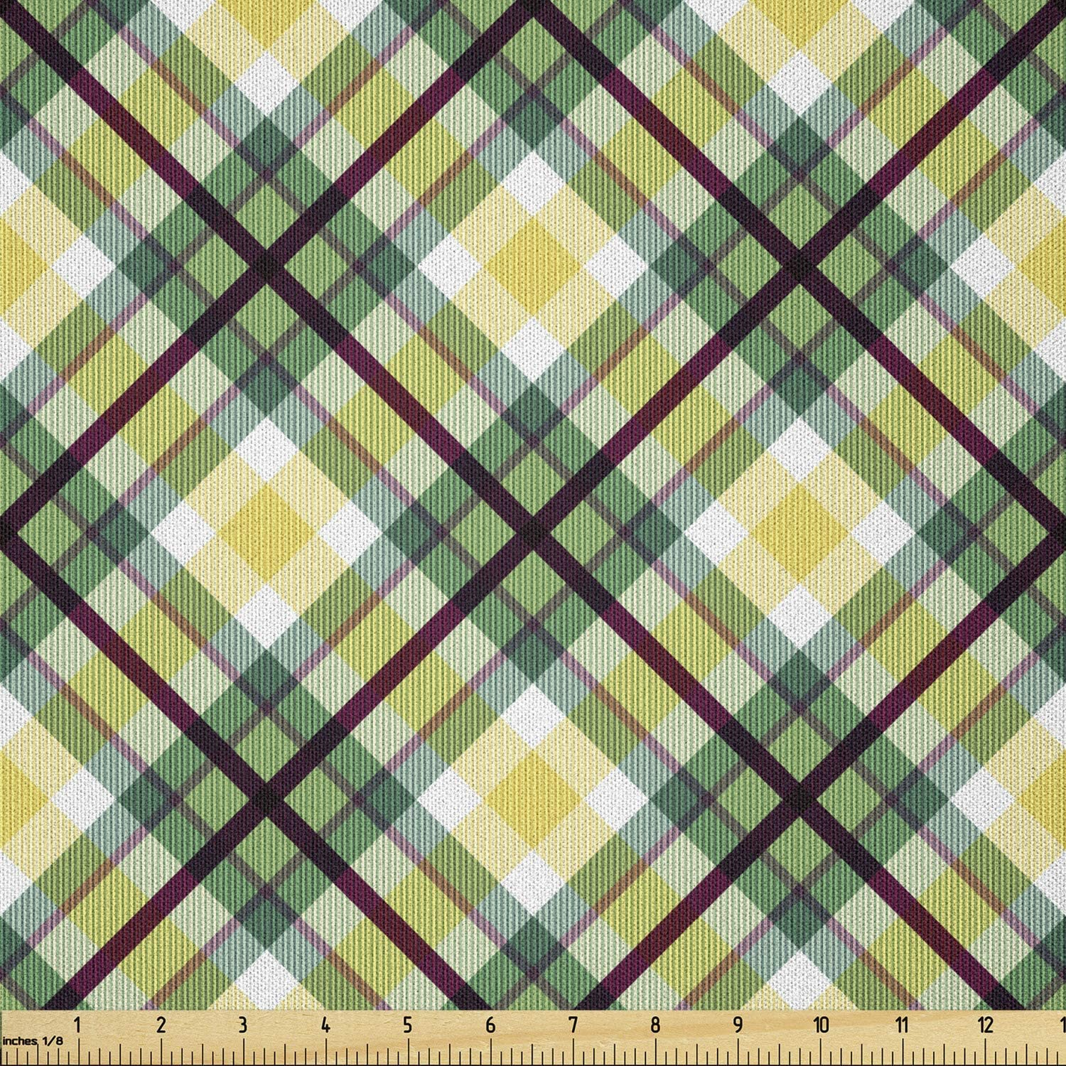 Ambesonne Don't Max 70% OFF miss the campaign Tartan Fabric by The Classic of Pattern Yard Diagonal