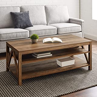 Walker Edison Modern Farmhouse A-Frame Wood Rectangle Coffee Table Living Room Ottoman Storage Shelf, 48 Inch, Rustic Oak