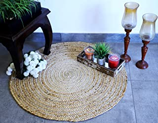 Fernish Décor Handwoven Jute Area Rug, Natural Yarn, Rustic Vintage Braided Reversible Rug, Eco Friendly (3 Feet, Round)