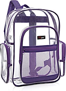 MGgear Clear Transparent PVC School Backpack/Outdoor Backpack with Purple Trim
