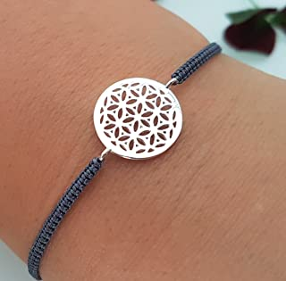 Lebensblume Armband 925 Silber handgeflochten