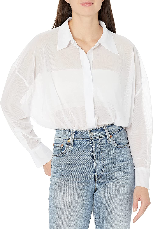 Norma Kamali womens Super Oversized Boyfriend Nk Shirt Bodysuit
