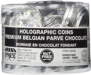 70 In a Tub Nut Free Holographic Foil Wrap Hanukkah Chocolate Gelt Coins - Parve