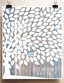 Light Wood Grain Background Wedding Guest Book Alternative Signing Tree with Owl Couple on Branches - 150 Leaves Canvas or...