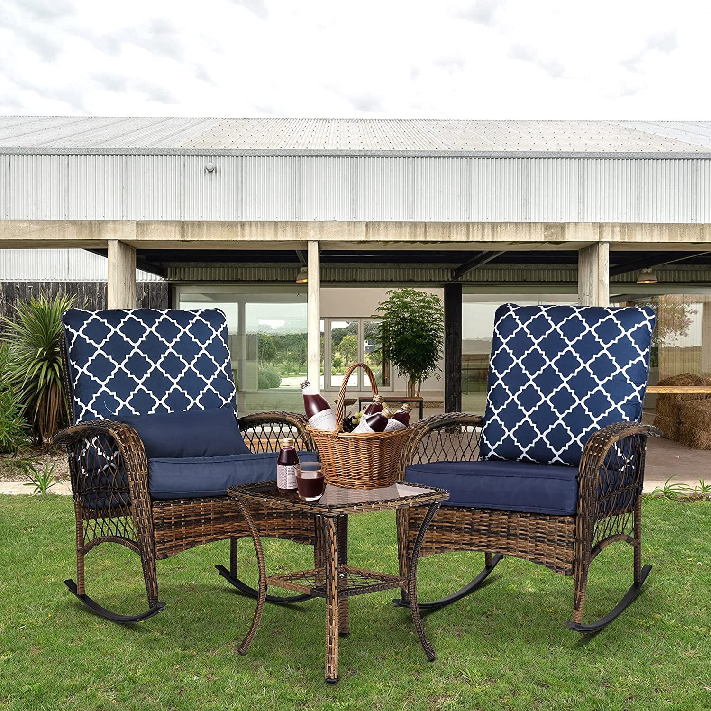 Rotihom Max 61% OFF 3 Pieces Outdoor Wicker Max 41% OFF Patio Rattan Set PE Wi Furniture