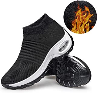 YHOON Women's Walking Shoes - Sock Sneakers Slip on Mesh Platform Air Cushion Athletic Shoes Work Nurse Comfortable Fur Lined Black 6.5
