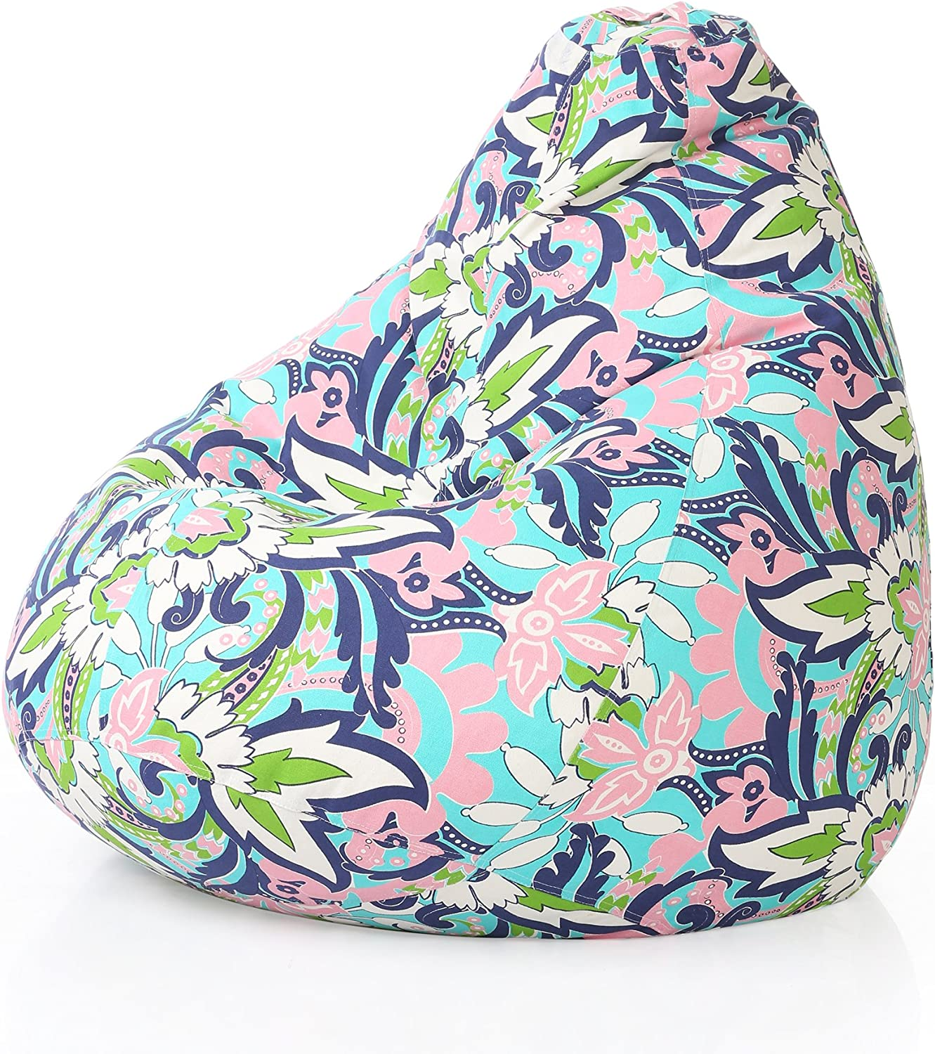 Style Homez Classic Cotton Canvas Floral Printed Bean Bag XXL Size Cover Only