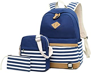 Backpack Girls School,Girls School Bags Set, Bookbags + Shoulder Bag + Pouch 3 in 1 (8810 Blue 3pcs)