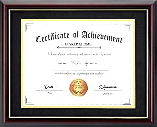 ELSKER&Home11x14 Document/Photo Wood Frame-Made for Document&Certificates Sized 8.5x11Inch with Mat and 11x14 Inch Without Mat (Double Mat,Matte Black with Golden Rim)