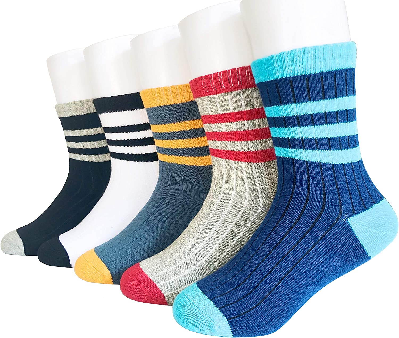 Eilin Fashion Kids Boys Colorful Novelty Fashion Cotton Crew Socks 5 Pairs