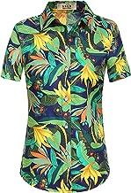 SSLR Women's Print Button Down Short Sleeve Tropical Hawaiian Shirt