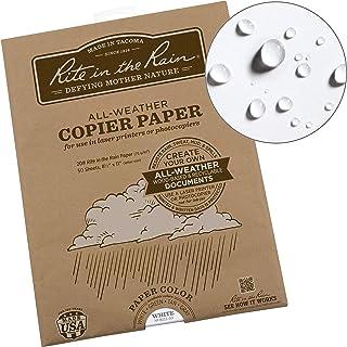 "Rite in the Rain Weatherproof Laser Printer Paper, 8.5"" x 11"", 20# White, 50 Sheet Pack (No. 8511-50)"