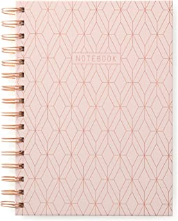 DesignWorks Ink Twin Wire Bound Journal, Copper Geo (Pink)